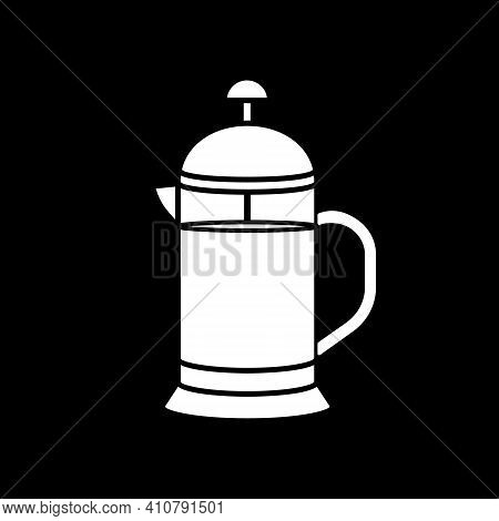 French Press Dark Mode Glyph Icon. Tea Brew. Alternative Method Of Coffee Preparation. Appliance To