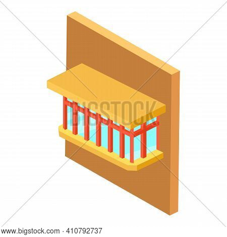 Glazed Balcony Icon. Isometric Illustration Of Glazed Balcony Vector Icon For Web
