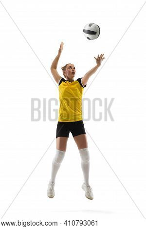 Leader. Young Female Volleyball Player Isolated On White Studio Background. Woman In Sportswear Trai