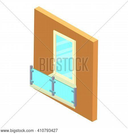 Transparent Balcony Icon. Isometric Illustration Of Transparent Balcony Vector Icon For Web