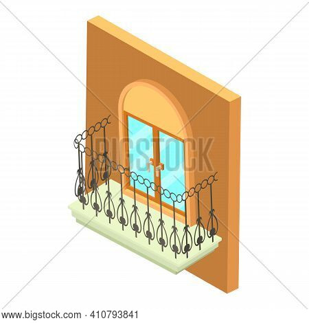 Forged Balcony Icon. Isometric Illustration Of Forged Balcony Vector Icon For Web
