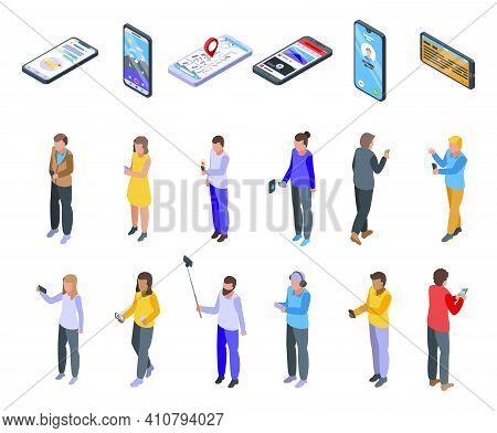 Using Smartphone Icons Set. Isometric Set Of Using Smartphone Vector Icons For Web Design Isolated O