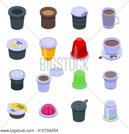 Capsule Coffee Icons Set. Isometric Set Of Capsule Coffee Vector Icons For Web Design Isolated On Wh