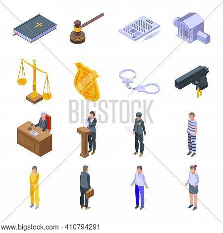 Criminal Justice Icons Set. Isometric Set Of Criminal Justice Vector Icons For Web Design Isolated O