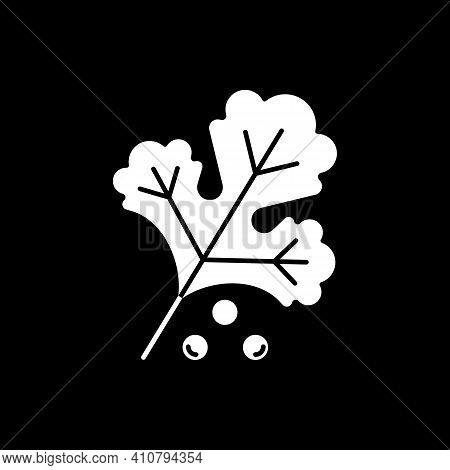 Plant Leaf Dark Mode Glyph Icon. Kale For Salad. Herbal Ingredient For Healthy Eating. Vegan Meal Re