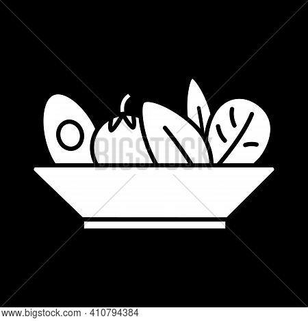 Salad Bowl Dark Mode Glyph Icon. Healthy Eating. Vegan Meal. Vegetarian Dish. Diet Lunch. Dinner Rec