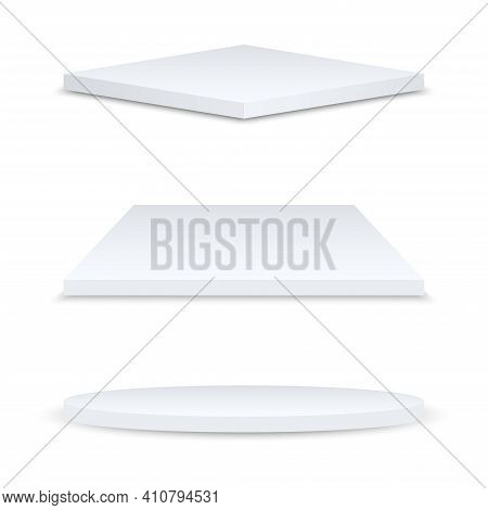 Set Of Realistic Podiums Or Exhibition Pedestals Isolated On White Background. Round, Square And Rho