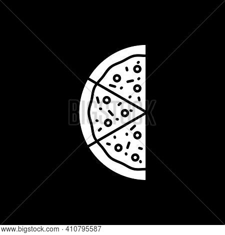 Half Of Pizza Dark Mode Glyph Icon. Slices For Eating. Fast Food Delivery. Eating Unhealthy Dinner.