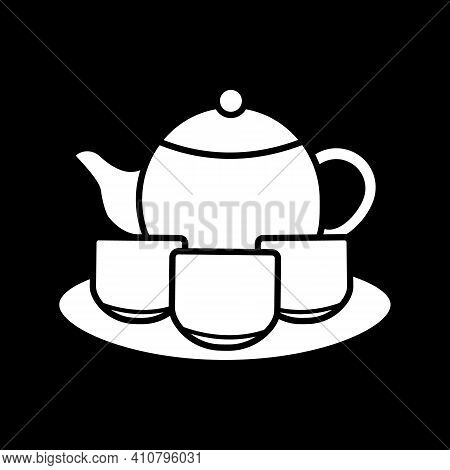 Tea Set Dark Mode Glyph Icon. Serving Drinks. Tea Ceremony. Pitches And Saucer, Porcelain Teacups An