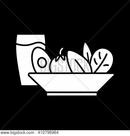 Healthy Food Dark Mode Glyph Icon. Dinner Meal. Cafe Dish. Salad With Drink. Healthy Eating. Vegan L
