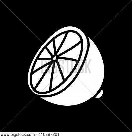 Cut Lemon Dark Mode Glyph Icon. Half Of Lime. Fresh Sour Fruit. Sliced Citric Food. Lemonade Ingredi