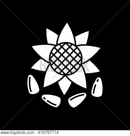 Sunflower Seeds Dark Mode Glyph Icon. Kernel For Oil Production. Diet Food For Healthy Eating. Groce