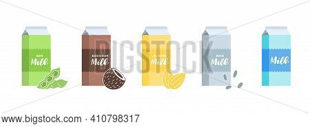 Soy, Almond, Coconut, Rice And Cow Milk Cardboard Box Set. Carton Packaging Design Element Collectio