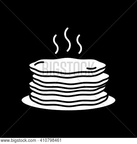 Stack Of Hot Pancakes Dark Mode Glyph Icon. Serving Breakfast Food. Steaming Warm Meal. Diner Menu.