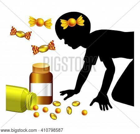 Child Mistakes Medicine For Candy. Kids Are Getting Poised Accidentally Because Sweets And Pills Are