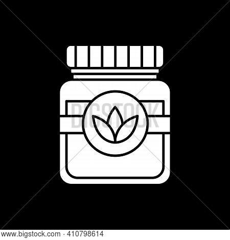 Vegan Sauce Dark Mode Glyph Icon. Vegetarian Dressing In Jar. Canned Natural Food. Recipe Ingredient