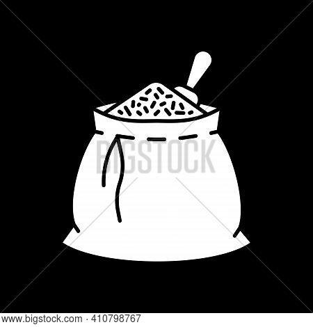 Grain In Sack Dark Mode Glyph Icon. Wheat In Bag. Grocery Foodstuff. Staple Food. Package Full Of Gr