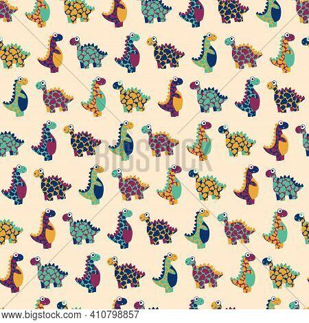 Motley Dinosaurs Childish Seamless Pattern Vector. Cartoon Vibrant Endless Texture With Prehistoric