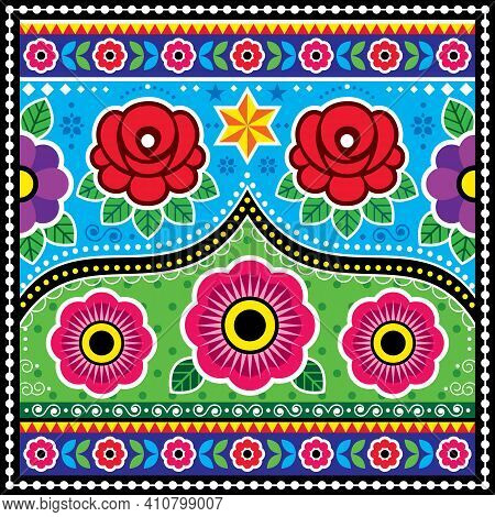 Pakistani And Indian Truck Art Vector Design With Roses, Star Flowers, Diwali Colorful Pattern