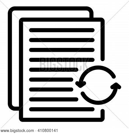 Refresh Docs Icon. Outline Refresh Docs Vector Icon For Web Design Isolated On White Background