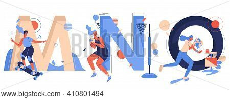 Sport And Active Lifestyle Characters With Capital Letters M For Mountainboarding, N For Netball And