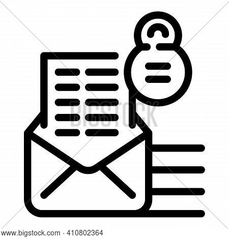 Privacy Letter Icon. Outline Privacy Letter Vector Icon For Web Design Isolated On White Background