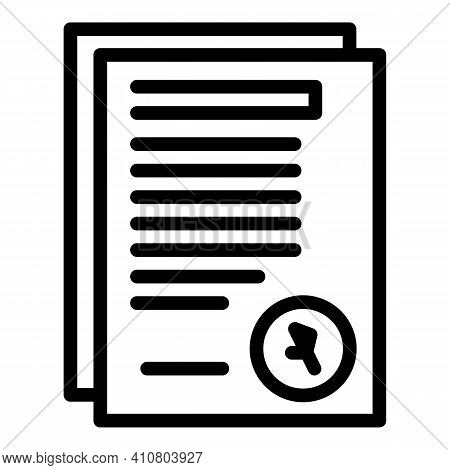 Assistance Documents Icon. Outline Assistance Documents Vector Icon For Web Design Isolated On White