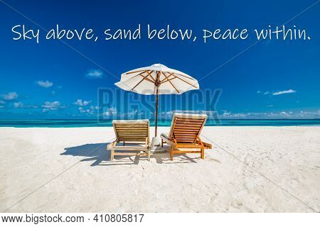 Sea Sand Sky With Summer Beach Quote. Vacation Holidays Background Wallpaper With Palms And Tropical