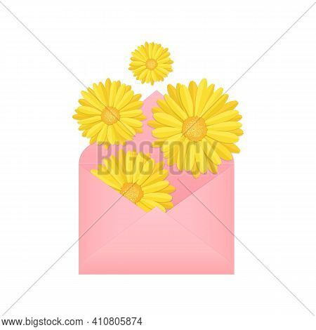 Flying, Falling Or Flat Lay Yellow Blooming Calendula Flower Buds And Pink Paper Envelope, Stock Vec