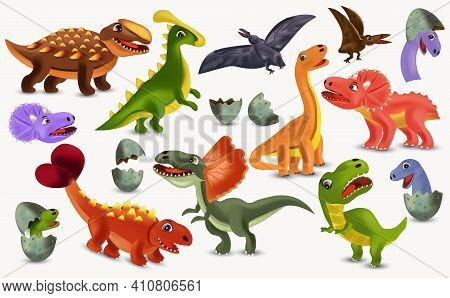 Dinosaurs Tyrannosaurus, Brachiosaurus, Pterodactyl, Triceratops, Stegosaurus Cartoon Character. Big