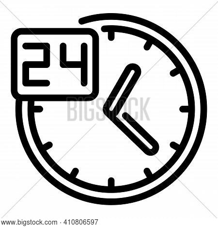 Non Stop Working Icon. Outline Non Stop Working Vector Icon For Web Design Isolated On White Backgro