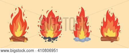 Campfire Different Types. Vector Burning Bonfire Frames. Camping Fire Collection. Fireplace With Fir