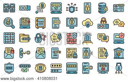 Password Protection Icons Set. Outline Set Of Password Protection Vector Icons Thin Line Color Flat