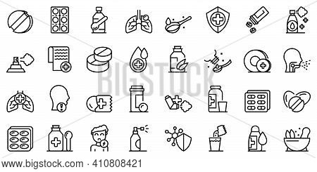 Cough Drops Icons Set. Outline Set Of Cough Drops Vector Icons For Web Design Isolated On White Back
