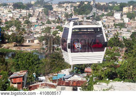 Santo Domingo, Dominican Republic - January 11, 2020: Passengers In Cabin Of Teleferico Santo Doming