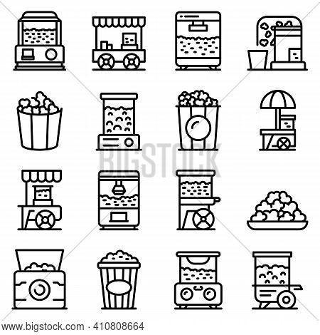 Popcorn Maker Machine Icons Set. Outline Set Of Popcorn Maker Machine Vector Icons For Web Design Is
