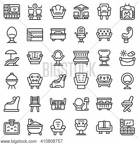 Lounge Icons Set. Outline Set Of Lounge Vector Icons For Web Design Isolated On White Background