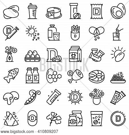 Vitamin D Icons Set. Outline Set Of Vitamin D Vector Icons For Web Design Isolated On White Backgrou
