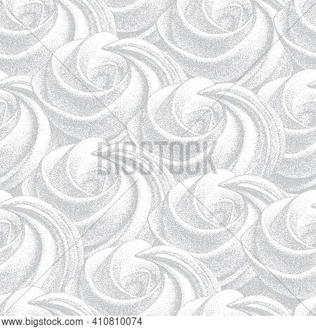 Seamless Pattern With White Airy French Cookies Meringues Twirls, Marshmallow, Zefir. Vector In Grap
