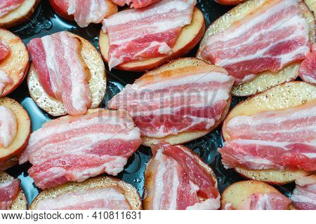 Raw Potatoes With Bacon, Prepared For Baking In The Oven.