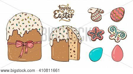 Large Easter Cake And A Set Of Easter Cookies Decorated With Colored Icing. Vector Set Of Illustrati