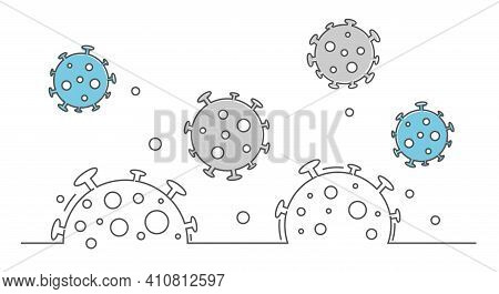 Flying Coronavirus Molecules In The Air.line Minimalist Illustration.