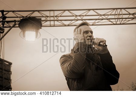 Omsk,russia-september 27, 2018. Opposition Politician Alexei Navalny Speaks At A Rally Among His Sup