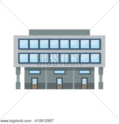 Detailed Commercial Building With Three Entrances Front View Flat Vector Illustration