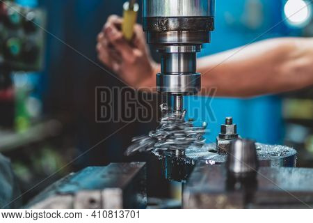 Professional Machinist Hand Working With Milling Machine In Metalworking Factory, Lathe Metalworking