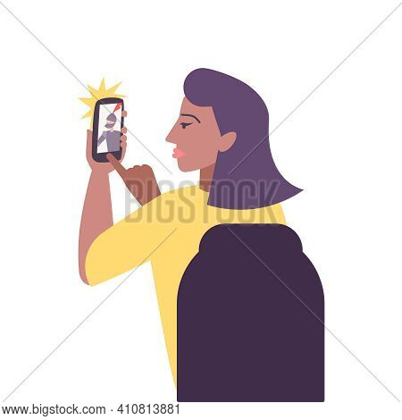 Kids Hobby Flat Composition With Character Of Woman Shooting Warrior Actors On Smartphone Vector Ill