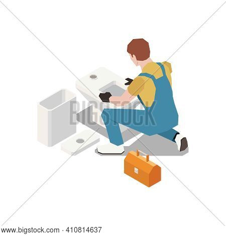 Plumber Isometric Composition With Character Of Plumber Installing New Toilet Bowl With Tool Box Vec