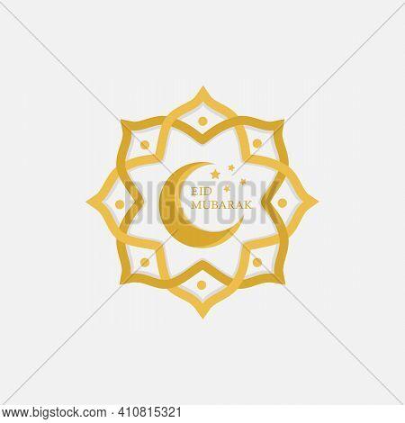 Eid Mubarak Vector.eid Mubarak With Mosque Upon Moon Background, Eid Mubarak Greeting Card Illustrat