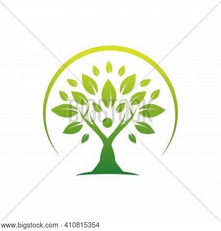 People Tree Logo Symbol Icon Design Template Illustration. Tree Teamwork Group Of People Logo Design