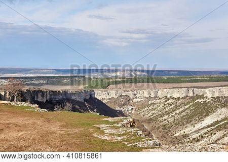 Landscape - Scarpland With Cuestas And Limestone Cliffs In Central Crimea